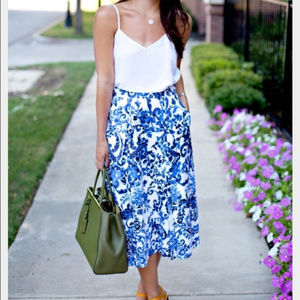 Milly-Blue Floral Full Midi Skirt